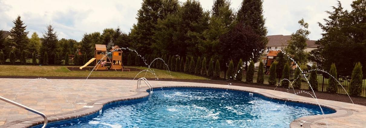 Deep, Blue, Free-form inground swimming pool, New Jersey, Metropools