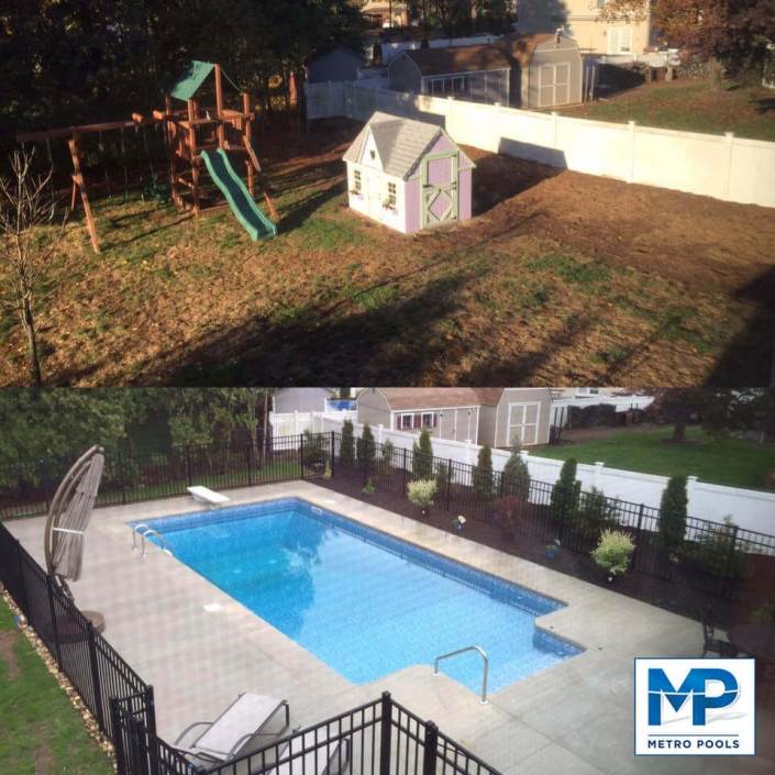 Before and After Building Amazing Inground Pool, Metropools, New Jersey