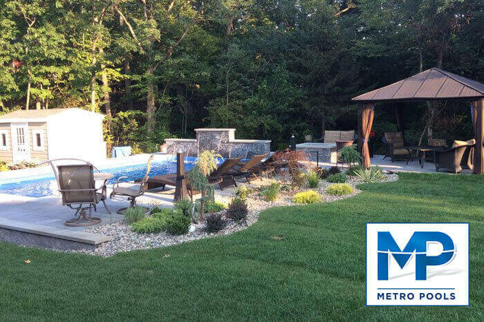 Beautiful Pool Landscape Design in Green Backyard, Metropools, NJ