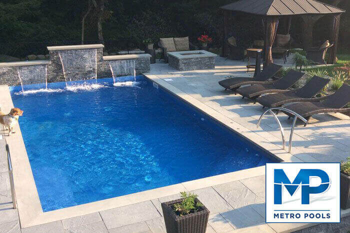 Rectangle Inground Pool Waterfall Installed, Metropools, NJ