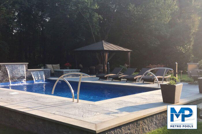 Enjoy the sunset by the vinyl liner inground pool, Metropools, NJ