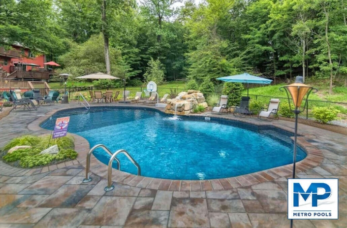 Perfect Free Form Blue Inground Swimming Pool, Metropools, NJ