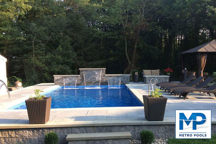 Amazing Inground Pool With Waterfall Installed, Meteopools
